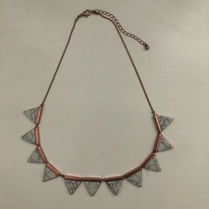 Marble/Rose gold triangle necklace
